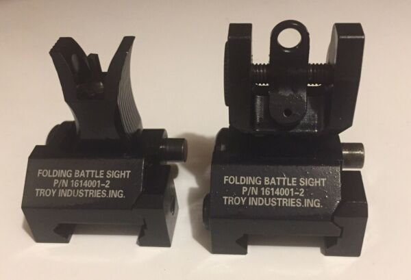 75.50 Black Back Up Battle Troy Style Front And Rear Flip Up Sights Please Read