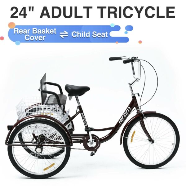 Adult Tricycle Three Wheel Trike Bike Cruiser with Rear Basket Child Seat 24quot; $252.99