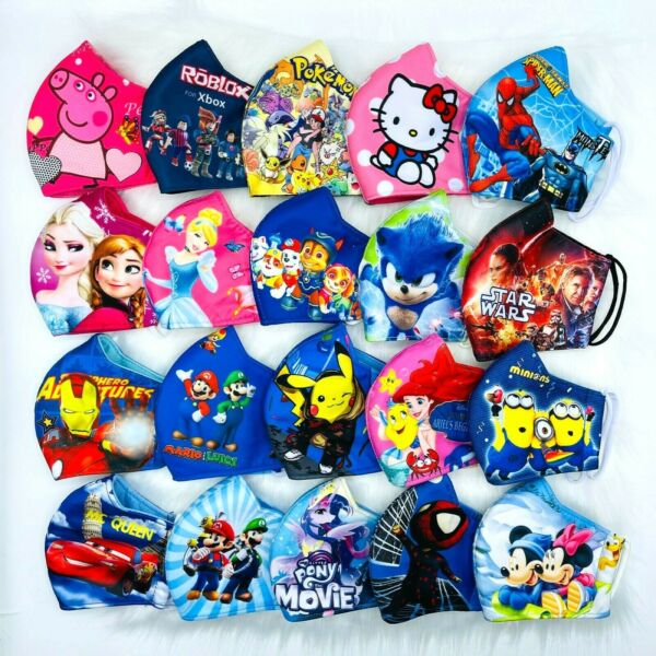 Kids Face Mask HERO PRINCESS Polyester 3 Fly Washable AGES FROM 👶🏻2 TO 10👧