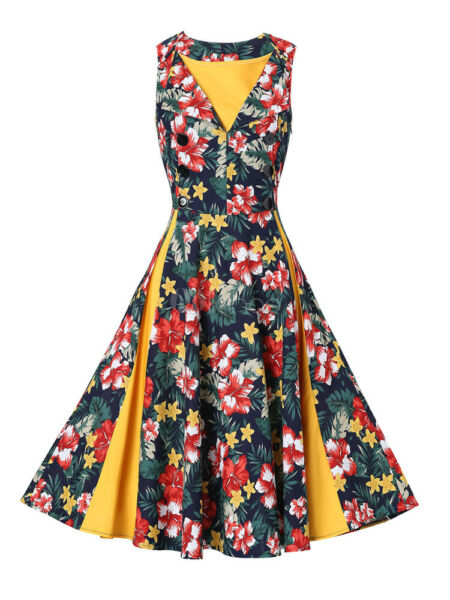 Vintage Dresses Yellow Floral Print Sleeveless V Neck Retro Dress New Size 6