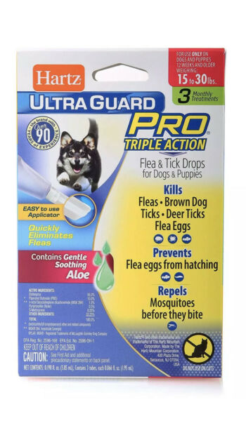 Hartz Ultra Guard Pro Flea amp; Tick Drops for Dogs amp; Puppies 15 30 lbs $7.99