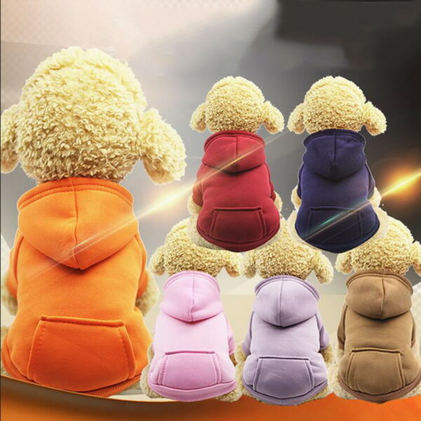 Pet Dog Sweater Soft Dogs Clothes Sports Hoodie Jumper Coat Puppy Cat Apparel ❤ $3.12