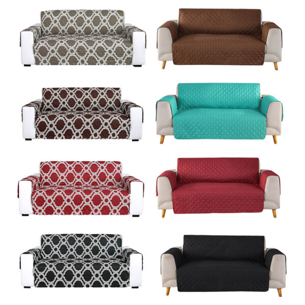 Reversible Quilted Sofa Cover Slipcover Loveseat Chair Couch Pet Mat Protector $18.88