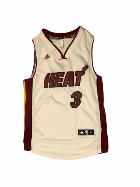 NWT Dwyane Wade #3 Miami Heat White Men#x27;s Basketball Jersey Sz Small $50.00
