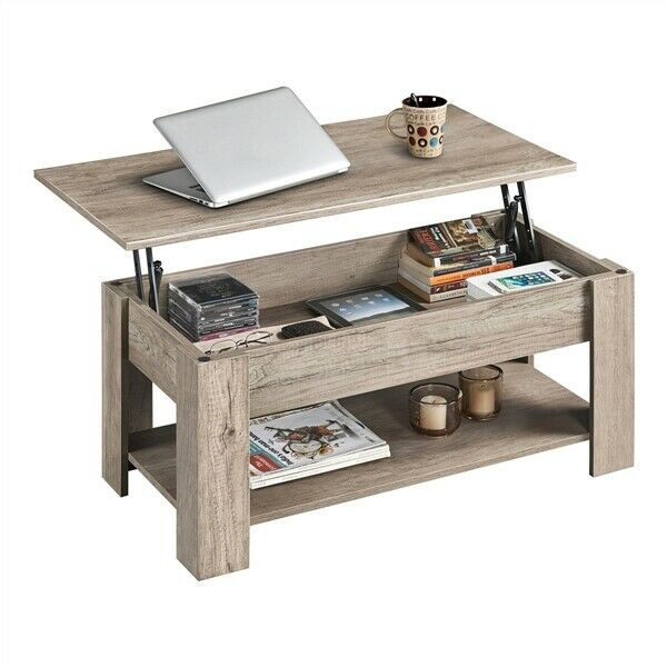 Modern Lift Top Coffee Table w Hidden Storage amp; Shelf For Living Room Gray