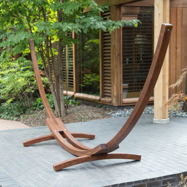 Double 2 Person Hammock Stand Hardwood Wood Curve Arc Outdoor Hammock Stand Only $145.99