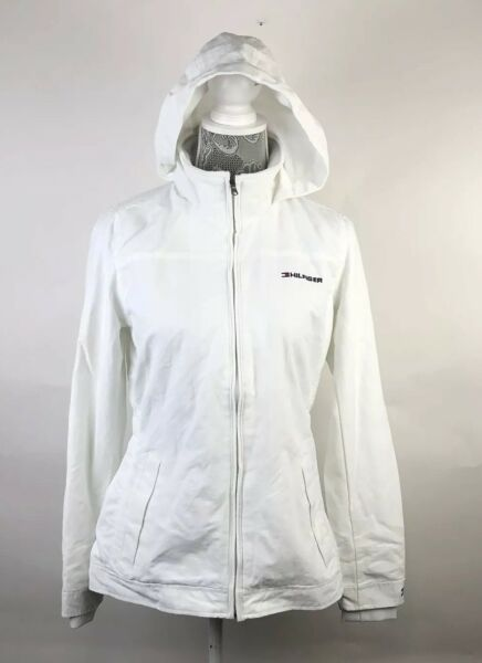 New Tommy Hilfiger Jacket Womens White Solid Spell Out Hood Winter Size XS $29.95