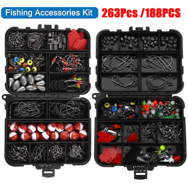 263 188Pcs Fishing Accessories Kit Set with Tackle Box Pliers Jig Hooks Bullet