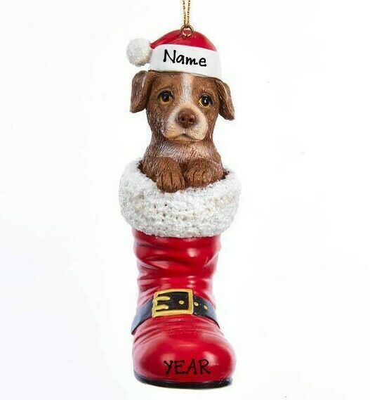 Puppy in Santa Boot Pit Bull Dog Personalized Christmas Ornament $12.99