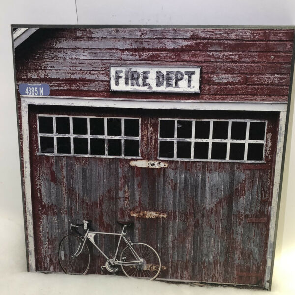 Vintage Fire Department Photo Plaque With Modern Bike TARGET $9.99
