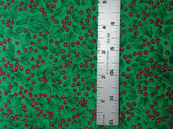 Red Green Holly Fabric Christmas Holiday Cotton Fabric by the Yard