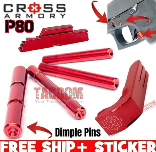 Cross Armory Red UPGRADE Parts P80 Glock Extended Magazine Catch Slide Pins
