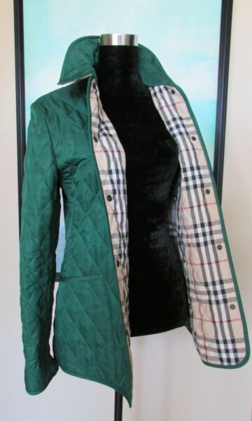 Women#x27;s Burberry Green Diamond Quilted Nova Check Field Jacket S M Made England $475.00