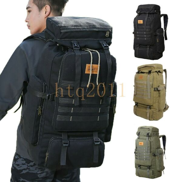 70L Outdoor Military Camping Hiking Trekking Canvas Backpack Tactical Bag Pack