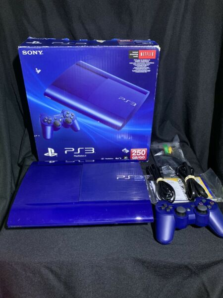 Sony Playstation 3 Super Slim Console Azurite Blue PS3 System RARE With Box $225.00