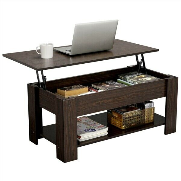 Modern Lift Top Coffee Table w Hidden Storage amp; Shelf For Living Room Office