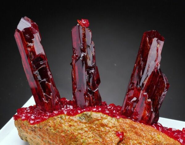 Pruskite ruby red crystals on matrix from Poland specimen shiny lustrous