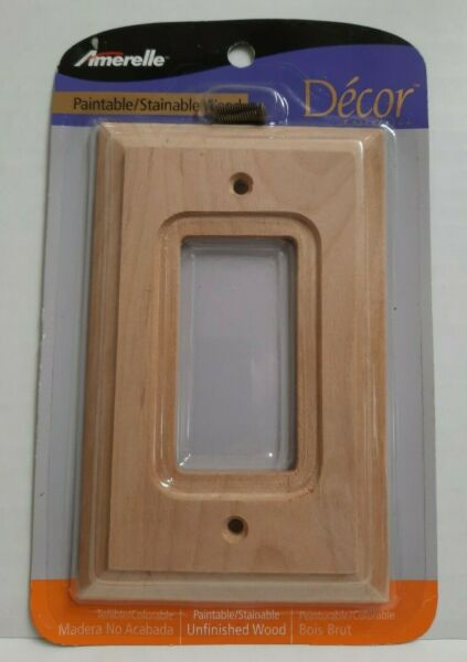 Amerelle Decor Unfinished Wood Switch Plate Cover 1 Rocker Wall Plate 180R New $9.95