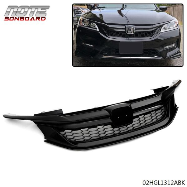 Front Upper Bumper Sport Mesh Grille Grill Black For 2016 2017 Honda Accord 4 DR