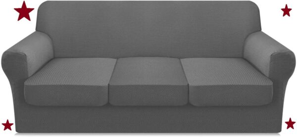 4pc Stretch Couch Cover for 3 Cushion Couch Pet Proof Large Light Gray $33.29
