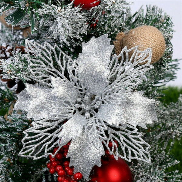 10pcs Glitter Christmas Poinsettia Hanging Flowers Xmas Party Tree Decorations