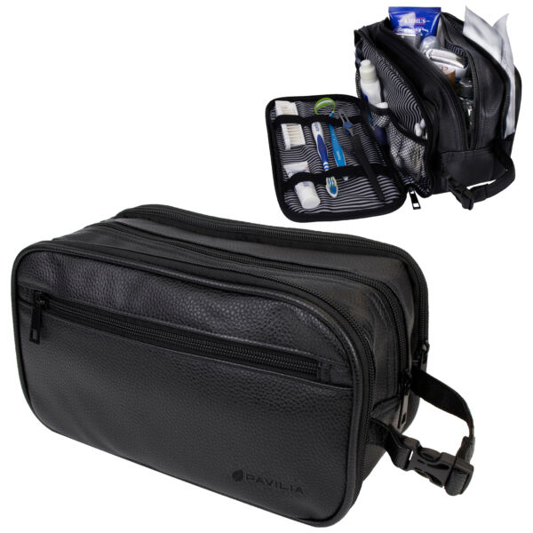 Mens Toiletry Bag with Zipper PU Leather Case Organizer Portable Travel Dopp Kit $19.99