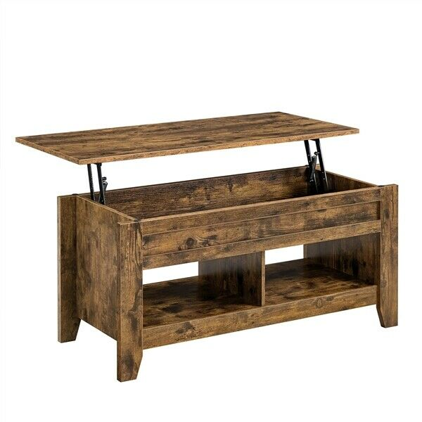 Lift Top Coffee Table w Storage amp; 2 Open Shelves For Living Room Rustic Brown