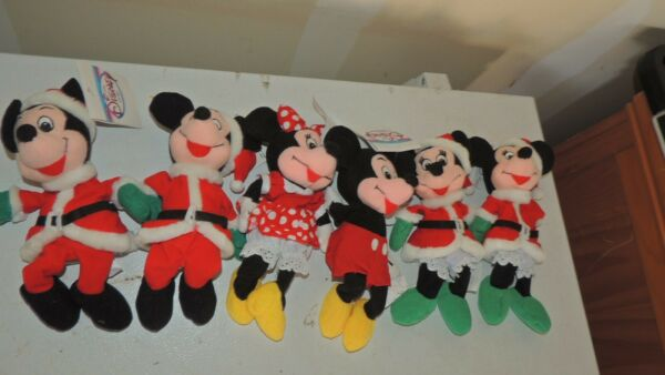 Disney Beanie Plush Lot of 6 Christmas Mickey Mouse Minnie Mouse Santa Costumes $13.49