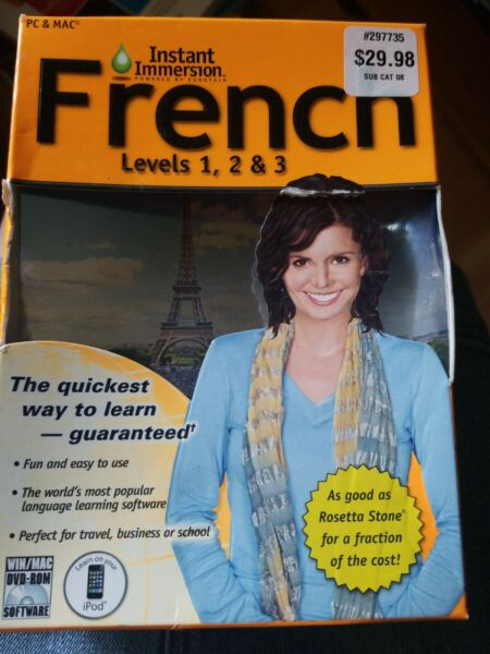 Instant Immersion French Levels 1 2 amp; 3 For PC amp; MAC Computer Software $10.00