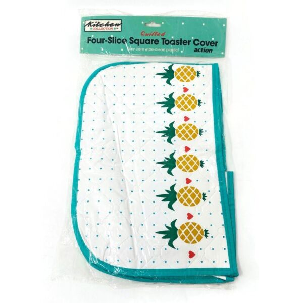 🔴 Vintage Kitchen Collection Quilted 4 Slice Toaster Cover Plastic Pineapples