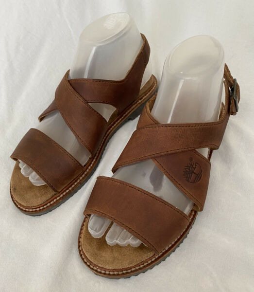 Timberland Sandals Brown Nubuck Leather Slingback Sandals Outdoor Shoes Size 6 W $24.99