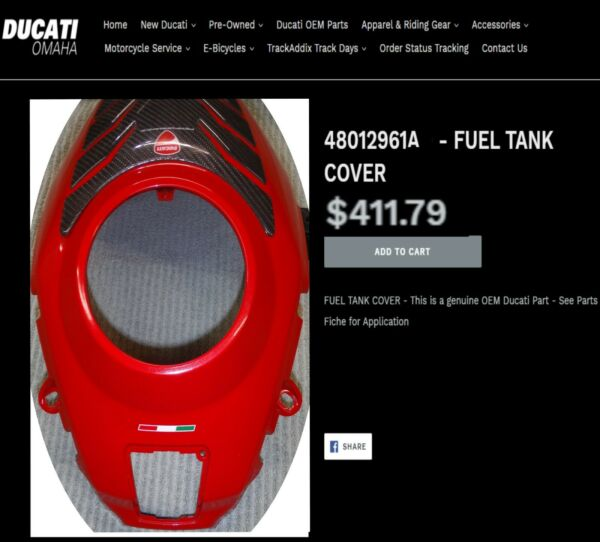 Ducati Multistrada S 2010 12 Gas Fuel Tank Cover Carbon Protector 48012961A RED $175.00