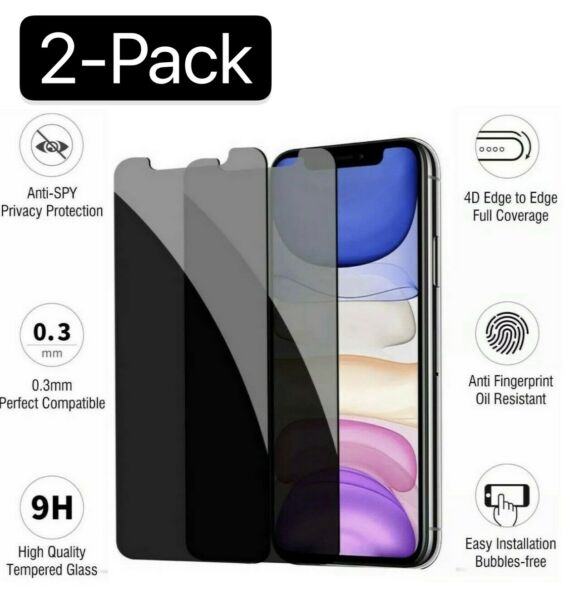 iPhone X XS XR XS Max 11 12 Pro Privacy Anti Spy Tempered Glass Screen Protector