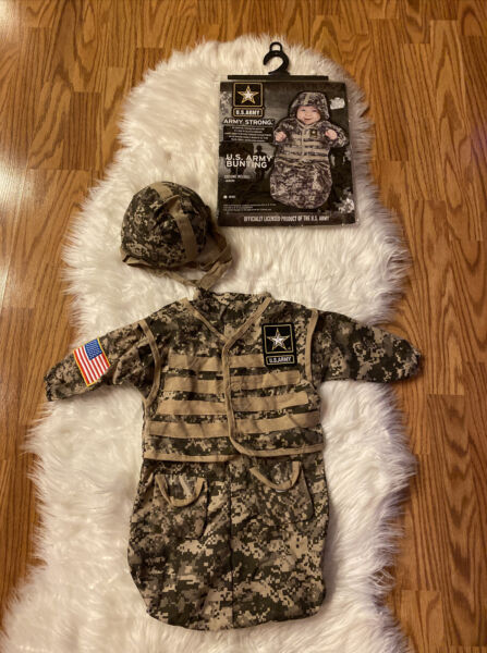 US Army Strong Infant Bunting Halloween Costume USA Camouflage Outfit Baby USA