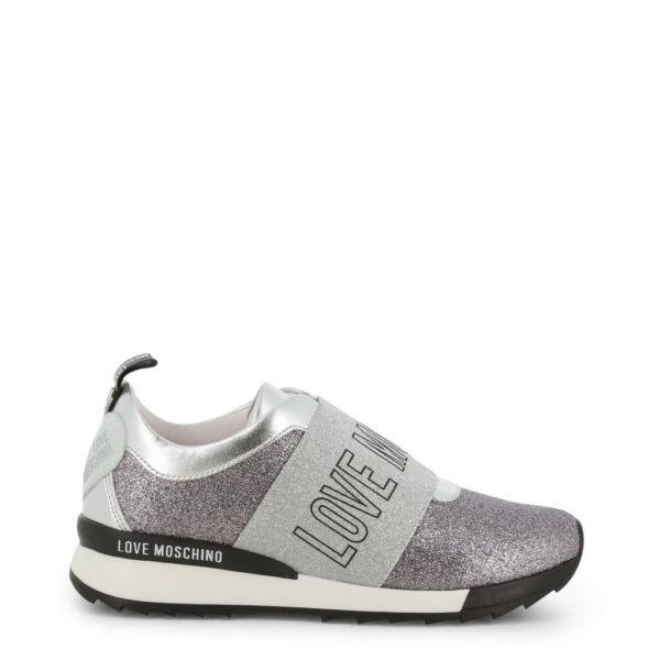 Love Moschino Shoes Women#x27;s Silver Glitter Logo Heart Sneakers Slip on Trainers $140.00