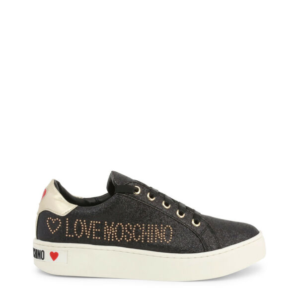 Love Moschino Shoes Women#x27;s Black Glitter Studded Logo Low Top Sneakers Trainers $126.00