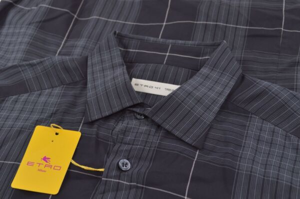 NWT ETRO Shirt Size 41 Made in Italy Black Gray Dress Casual Sport Brand New $149.99