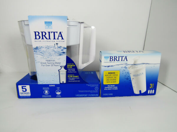 Brita 5 Cup BPA Free Water Filtration Pitcher with 1 Standard Filter PLUS Three