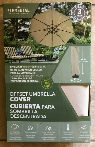 Elemental Outdoor Covers Tan Offset Umbrella Cover 76x30quot; fits 6#x27; UV Resist $14.99