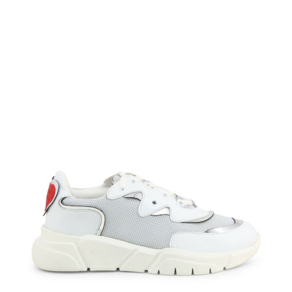 Love Moschino Shoes Women#x27;s White Red Heart Low Top Sneakers Trainers $168.00