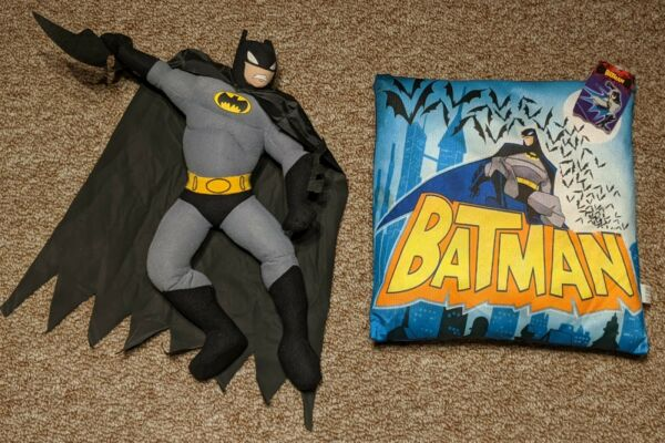 The Batman Plush Stuffed Toy and Pillow New with Tags Rare Batarang Vintage $55.00