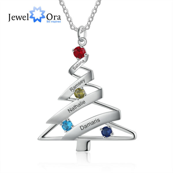 Personalized Women Tree Necklaces Engrave Kids Names Birthstones Christmas Gifts