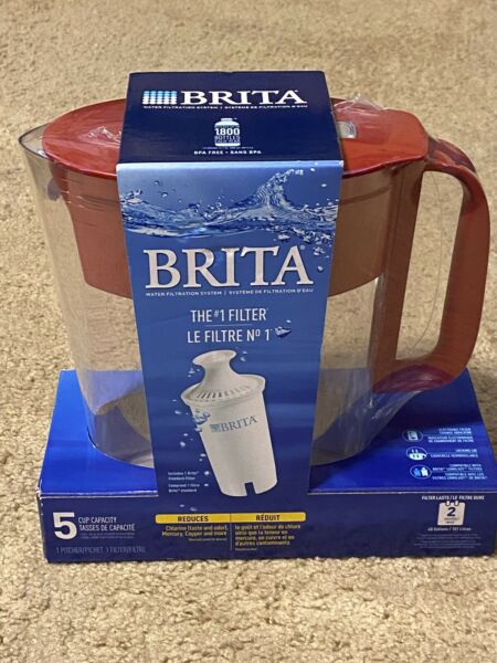 New Brita Water Pitcher Purifier Bottle With 1 Filter 5 Cup Red BPA Free