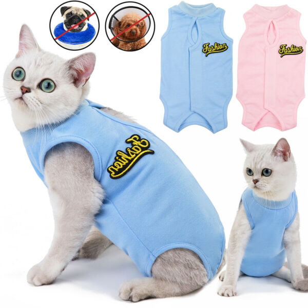 Pet Dogs Cat Recovery Suit Surgery Wound Protector Clothes Licking Vest Coat $8.39