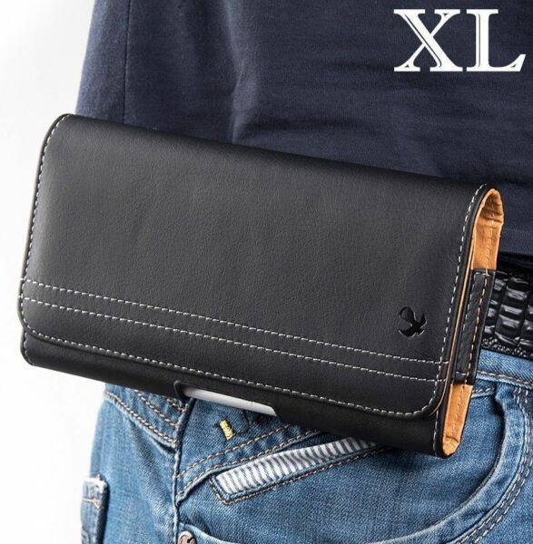 iPhone 12 Pro Max 6.7quot; Black Leather Belt Clip Horizontal Pouch Holster Case $8.65