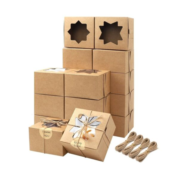 Moretoes 50pcs Brown Bakery Boxes with Window Cupcake Boxes 4x4x2.5 Inches Co...