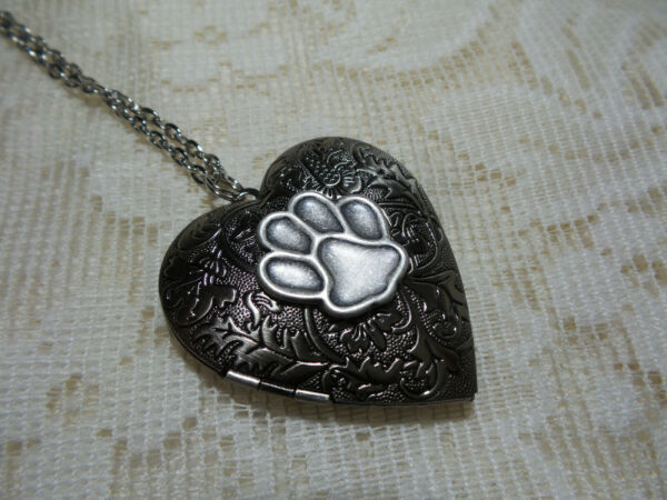 ANTIQUE SILVER COLOR DOG PAW PRINT HEART LOCKET $24.99