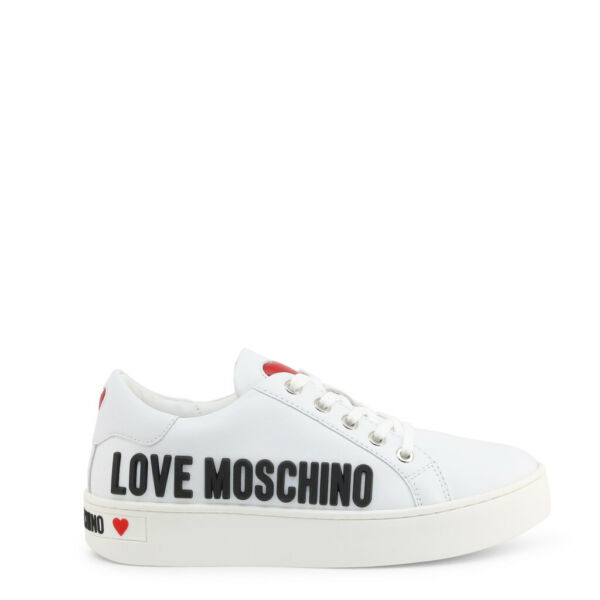 Love Moschino Shoes Women#x27;s White Black Leather Logo Low Top Sneakers EU35 US5 $168.00