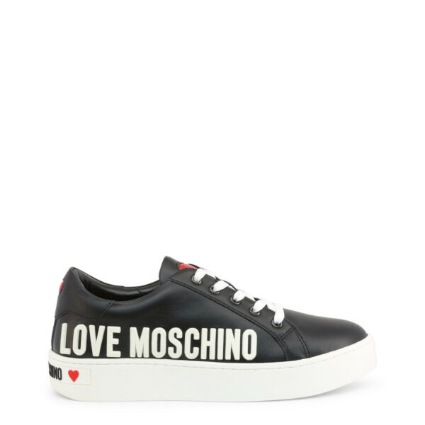 Love Moschino Shoes Women#x27;s Black White Leather Logo Low Top Sneakers EU41 US11 $168.00