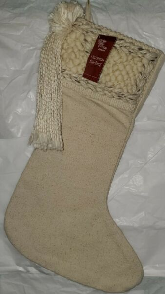 New Primitive Country Rustic Shabby Farmhouse NATURAL BURLAP Christmas Stocking